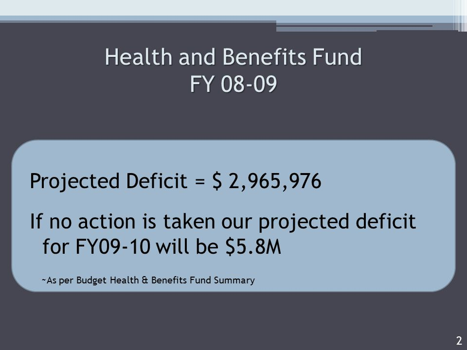 Health and Benefits Fund FY Projected Deficit = $ 2,965,976 If no action is taken our projected deficit for FY09-10 will be $5.8M ~As per Budget Health & Benefits Fund Summary