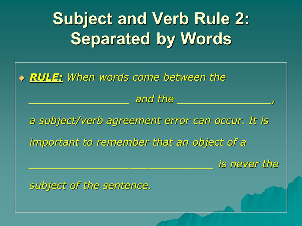 Grammar Notes English I Subject Verb Agreement Rules Ppt Download