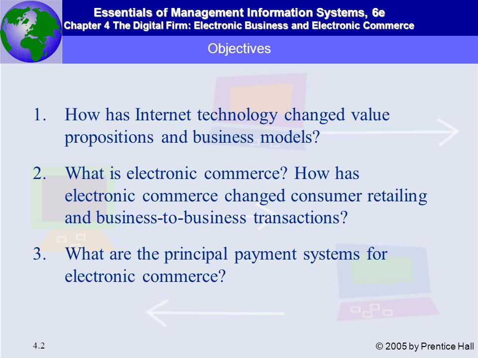 Essentials of Management Information Systems, 6e Chapter 4 The Digital Firm: Electronic Business and Electronic Commerce 4.2 © 2005 by Prentice Hall Objectives 1.How has Internet technology changed value propositions and business models.