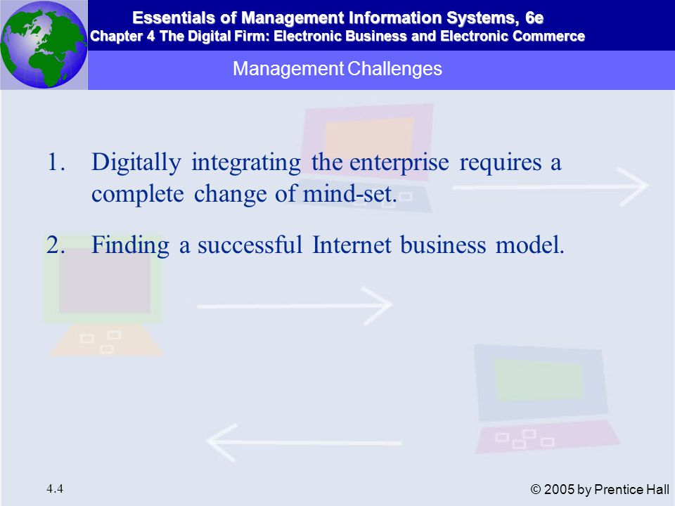 Essentials of Management Information Systems, 6e Chapter 4 The Digital Firm: Electronic Business and Electronic Commerce 4.4 © 2005 by Prentice Hall Management Challenges 1.Digitally integrating the enterprise requires a complete change of mind-set.
