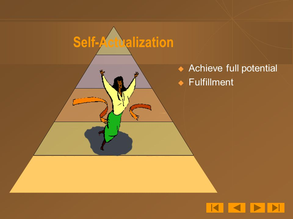 Self-Actualization  Achieve full potential  Fulfillment