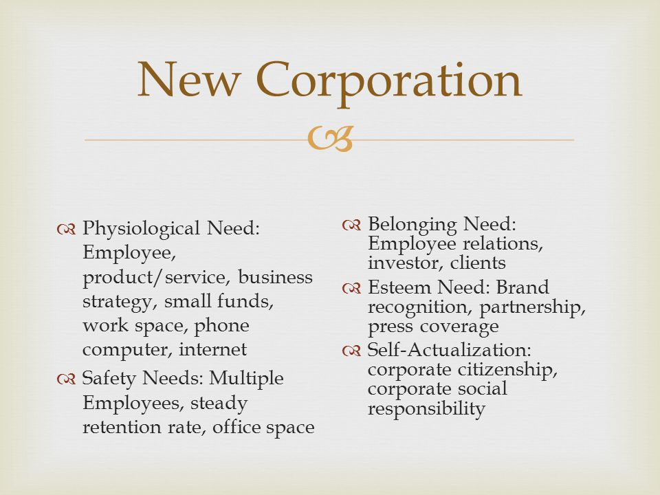  New Corporation  Physiological Need: Employee, product/service, business strategy, small funds, work space, phone computer, internet  Safety Needs: Multiple Employees, steady retention rate, office space  Belonging Need: Employee relations, investor, clients  Esteem Need: Brand recognition, partnership, press coverage  Self-Actualization: corporate citizenship, corporate social responsibility