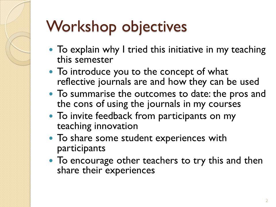 2 workshop objectives