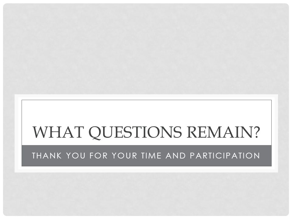 WHAT QUESTIONS REMAIN THANK YOU FOR YOUR TIME AND PARTICIPATION