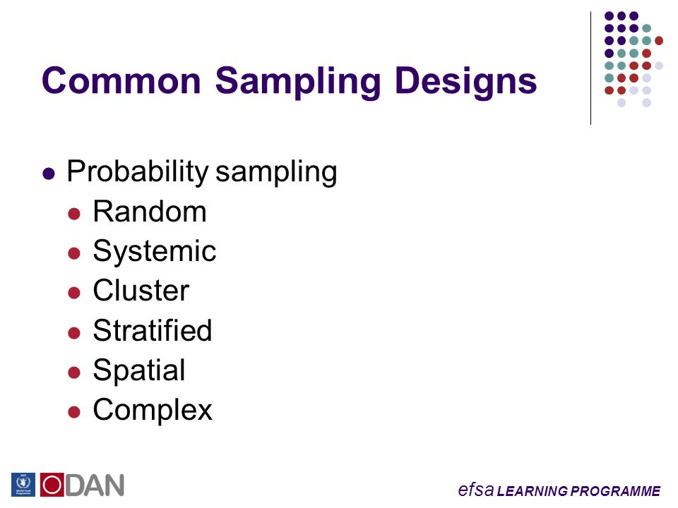 efsa LEARNING PROGRAMME Probability sampling Random Systemic Cluster Stratified Spatial Complex Common Sampling Designs