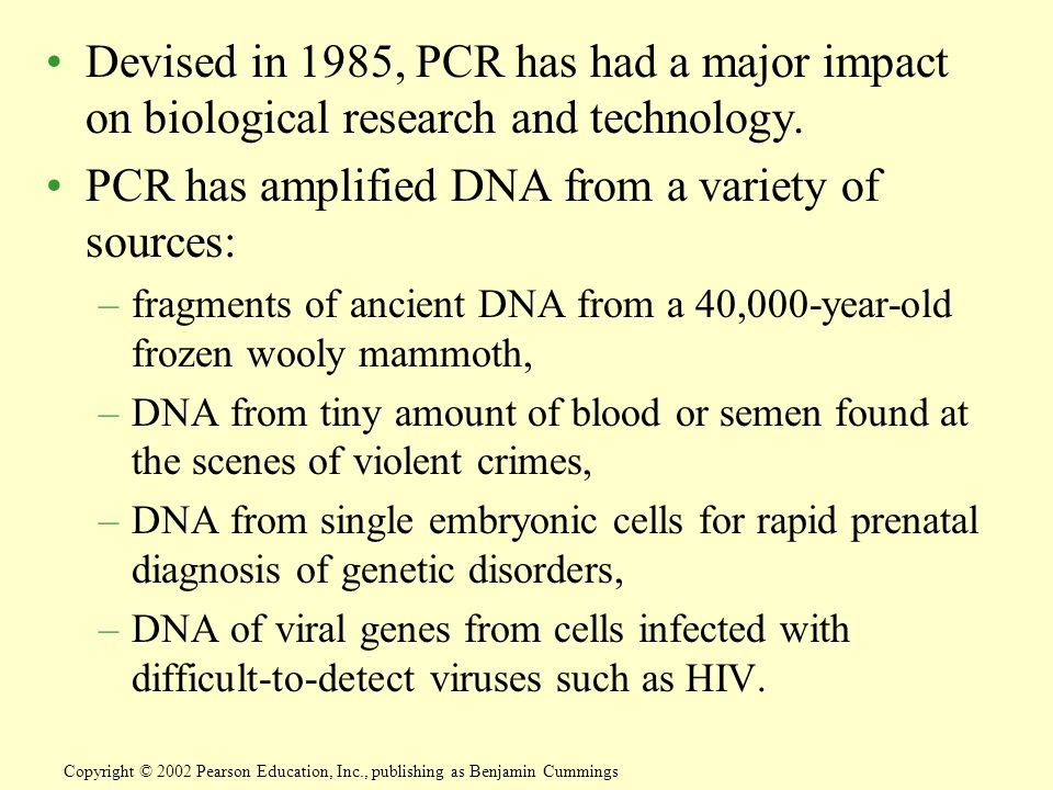 Devised in 1985, PCR has had a major impact on biological research and technology.