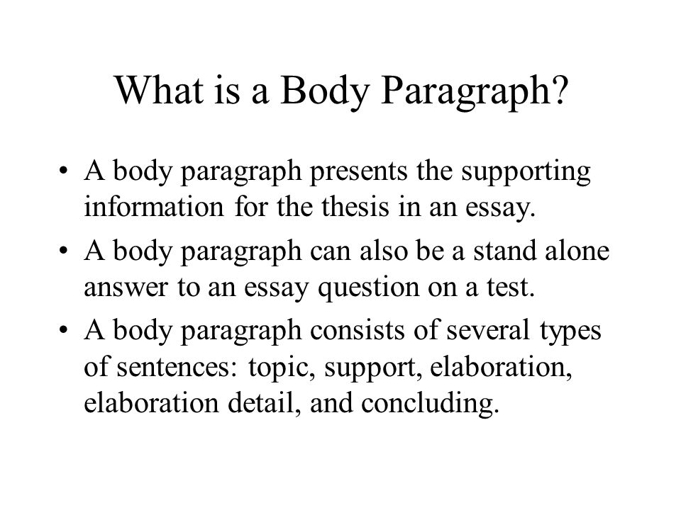 how to write a good body paragraph