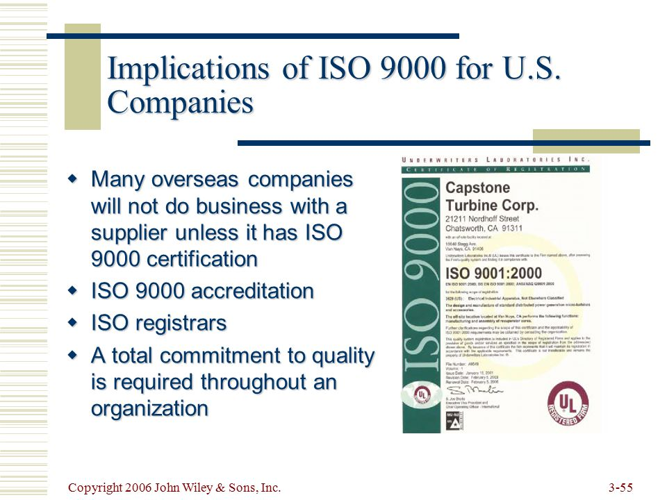 Copyright 2006 John Wiley & Sons, Inc Implications of ISO 9000 for U.S.
