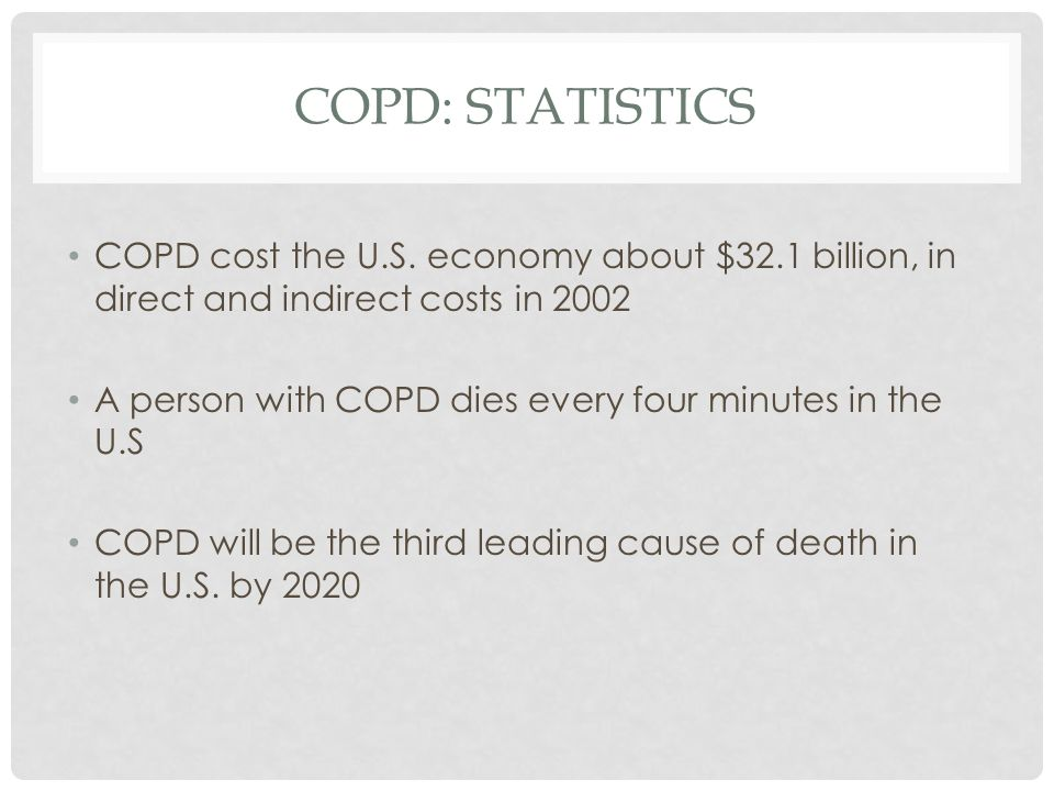 COPD: STATISTICS COPD cost the U.S.