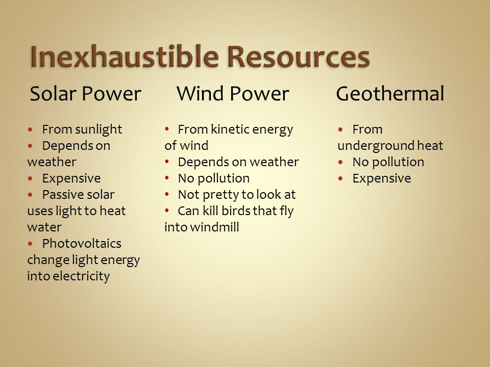 From sunlight Depends on weather Expensive Passive solar uses light to heat water Photovoltaics change light energy into electricity From underground heat No pollution Expensive Wind PowerSolar PowerGeothermal From kinetic energy of wind Depends on weather No pollution Not pretty to look at Can kill birds that fly into windmill