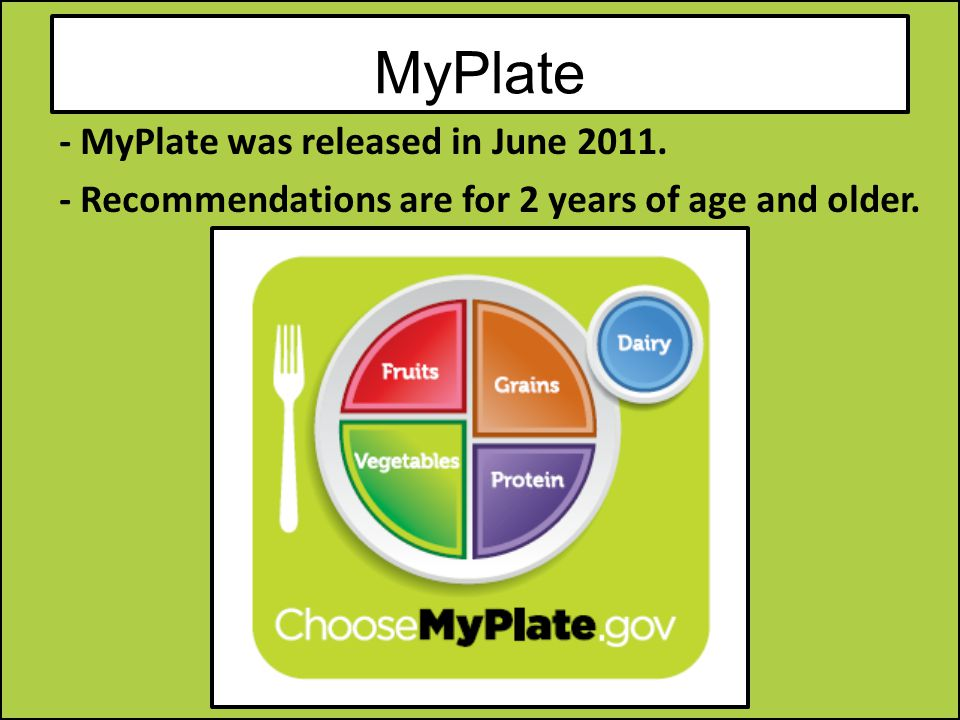 MyPlate - MyPlate was released in June Recommendations are for 2 years of age and older.