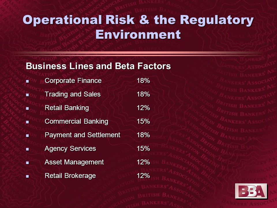 Operational Risk & the Regulatory Environment Business Lines and Beta Factors n Corporate Finance 18% n Trading and Sales18% n Retail Banking 12% n Commercial Banking15% n Payment and Settlement18% n Agency Services15% n Asset Management12% n Retail Brokerage12%