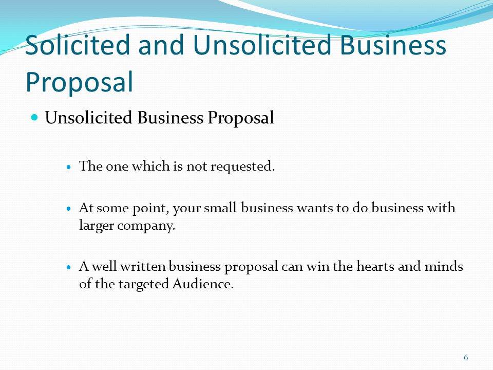unsolicited business proposal