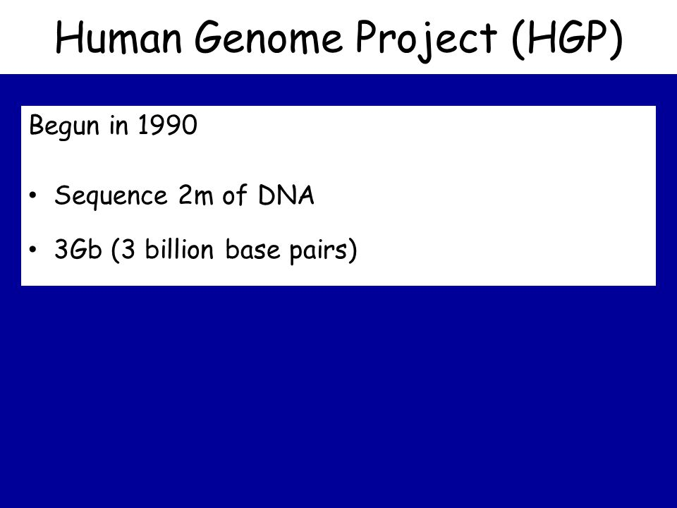 Human Genome Project (HGP) Begun in 1990 Sequence 2m of DNA 3Gb (3 billion base pairs)