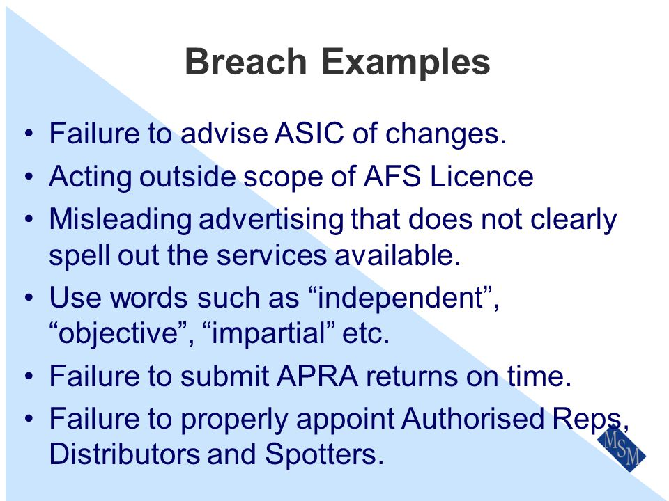 Breach Examples Failure of Spotters to disclose their income.