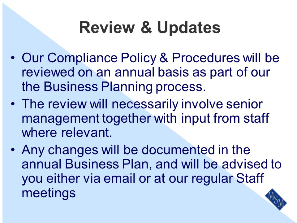 Breach Examples Financial Services Guide –Incomplete / not up to date –Old FSG on website –Not providing within 5 days to new clients –Not providing to existing clients when changed –Not recording date and version no when sent to client.