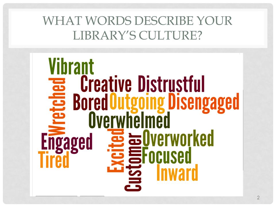 2 WHAT WORDS DESCRIBE YOUR LIBRARY'S CULTURE