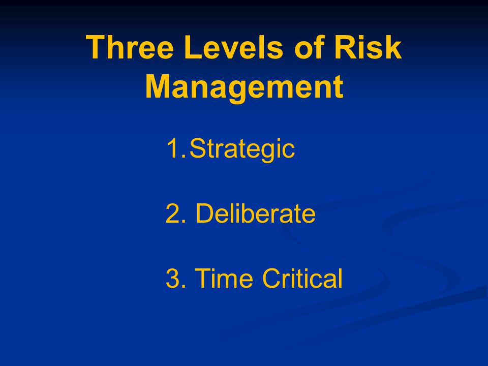 Three Levels of Risk Management 1.Strategic 2. Deliberate 3. Time Critical