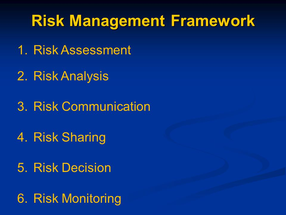 Risk Management Framework 1.Risk Assessment 2.Risk Analysis 3.Risk Communication 4.Risk Sharing 5.Risk Decision 6.Risk Monitoring