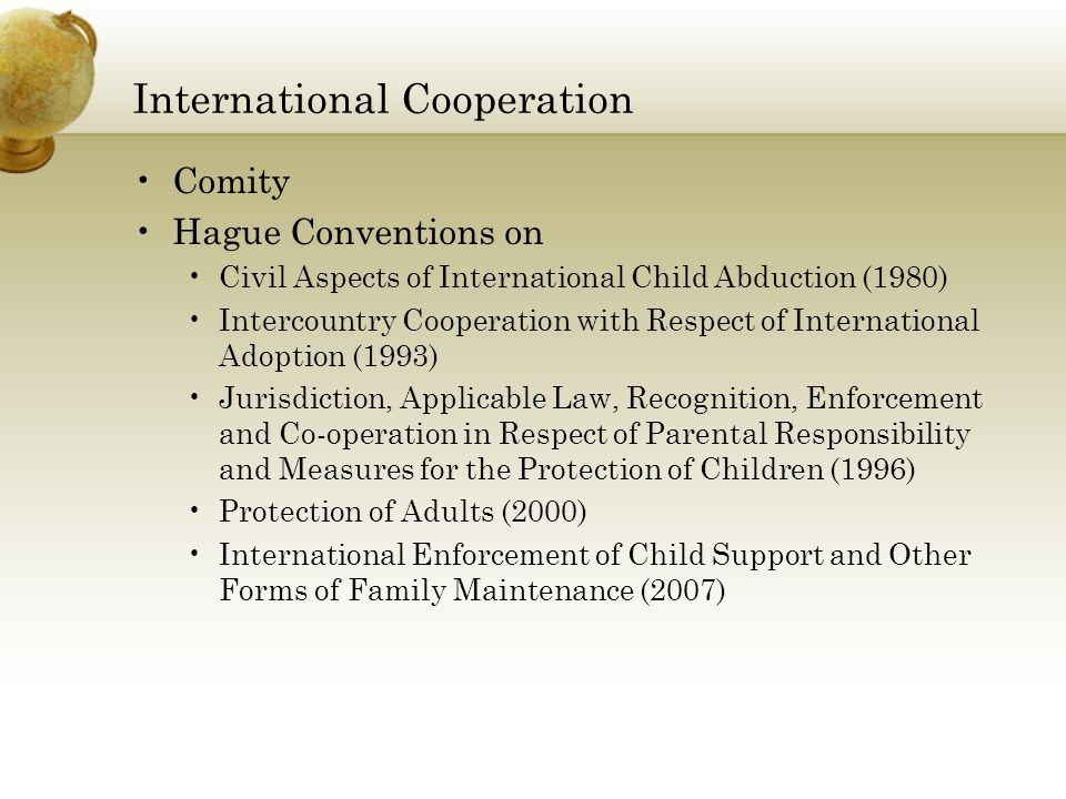 International Cooperation Comity Hague Conventions on Civil Aspects of International Child Abduction (1980) Intercountry Cooperation with Respect of International Adoption (1993) Jurisdiction, Applicable Law, Recognition, Enforcement and Co-operation in Respect of Parental Responsibility and Measures for the Protection of Children (1996) Protection of Adults (2000) International Enforcement of Child Support and Other Forms of Family Maintenance (2007)