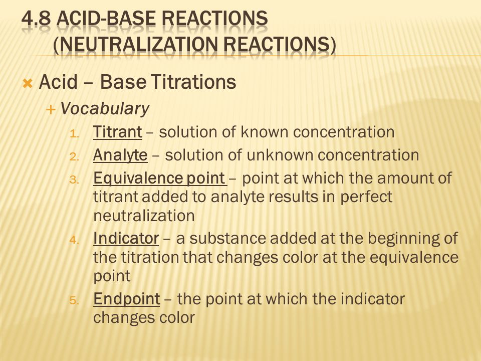  Acid – Base Titrations  Vocabulary 1. Titrant – solution of known concentration 2.