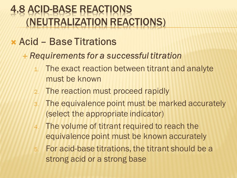  Acid – Base Titrations  Requirements for a successful titration 1.