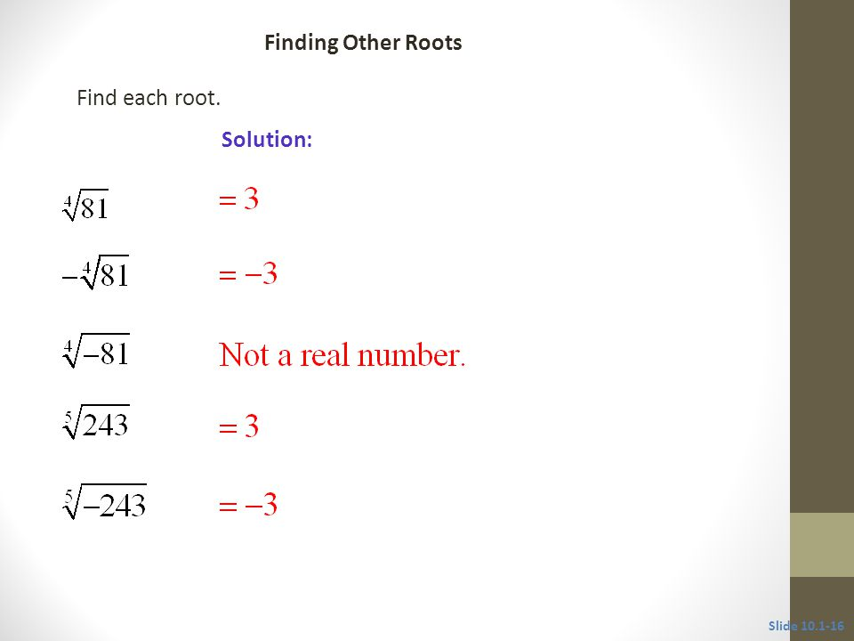 Find each root. Solution: Slide Finding Other Roots CLASSROOM EXAMPLE 6