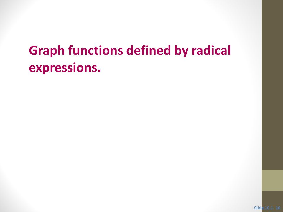 Objective 4 Graph functions defined by radical expressions. Slide