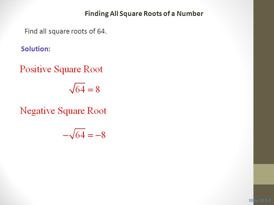 Find all square roots of 64.