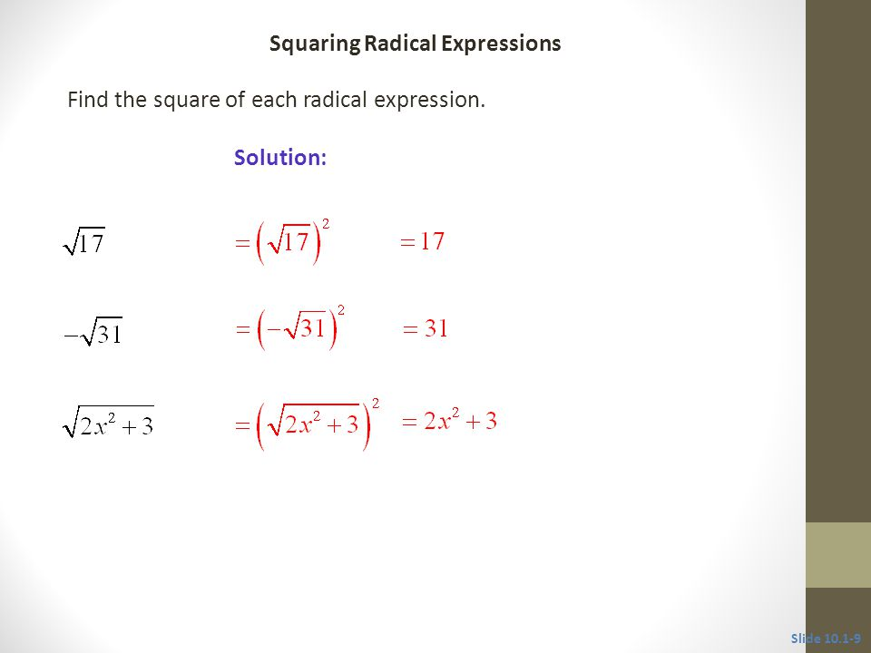 Find the square of each radical expression.
