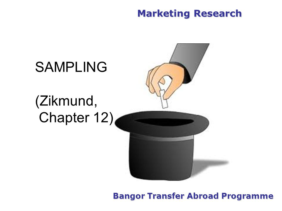 Marketing Research Bangor Transfer Abroad Programme SAMPLING (Zikmund, Chapter 12)