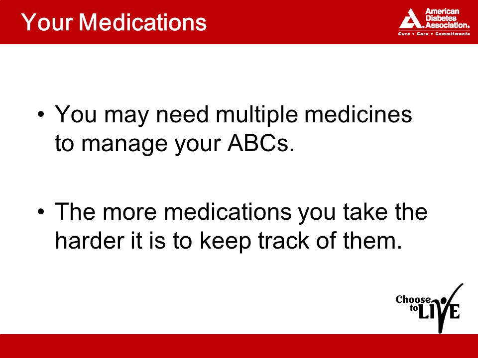 Your Medications You may need multiple medicines to manage your ABCs.