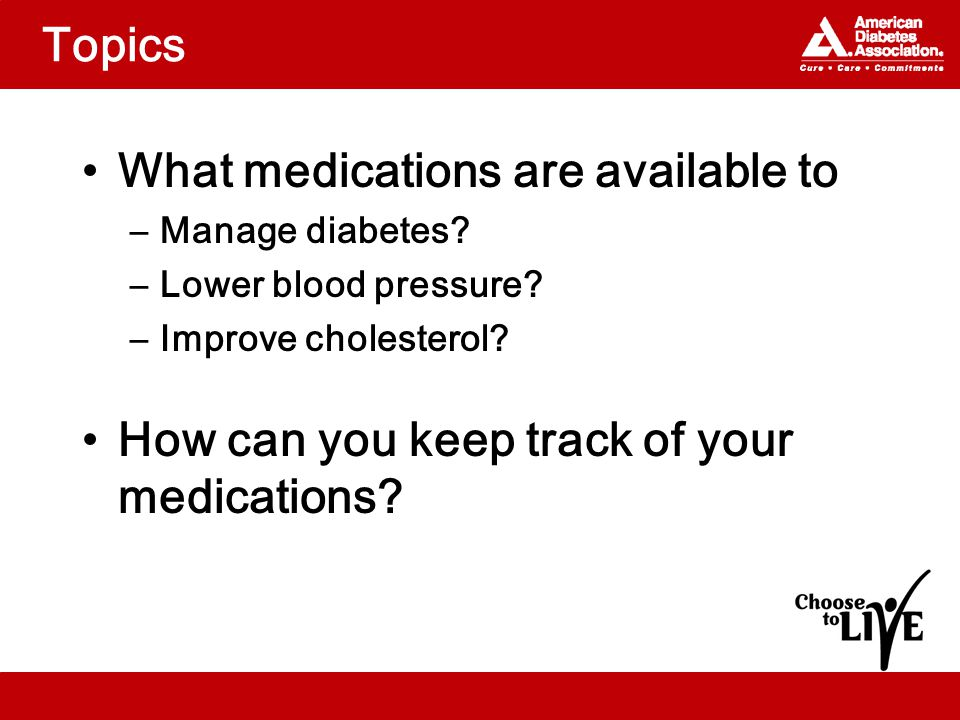 Topics What medications are available to –Manage diabetes.