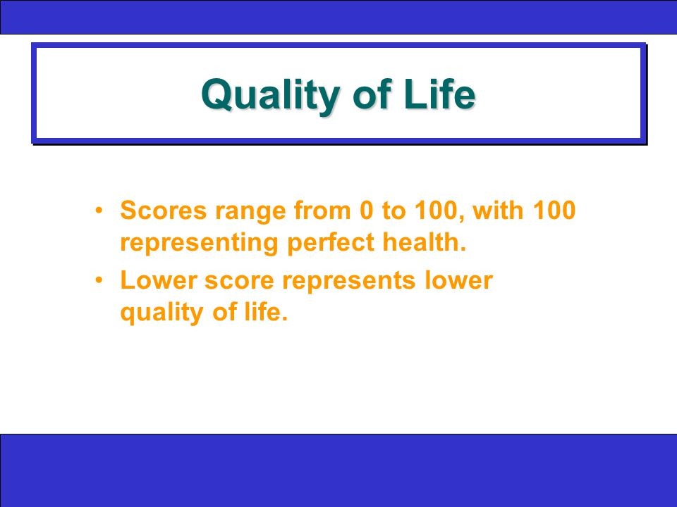 Quality of Life Scores range from 0 to 100, with 100 representing perfect health.
