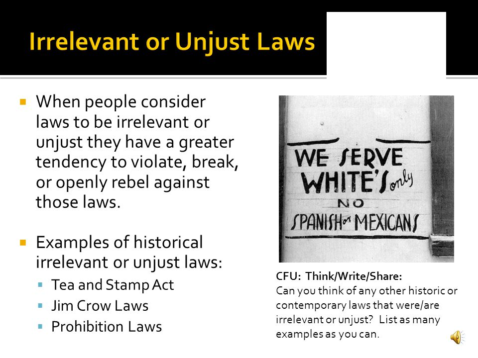 examples of unjust laws