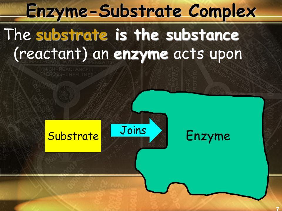 7 Enzyme-Substrate Complex substrate is the substance enzyme The substrate is the substance (reactant) an enzyme acts upon Enzyme Substrate Joins