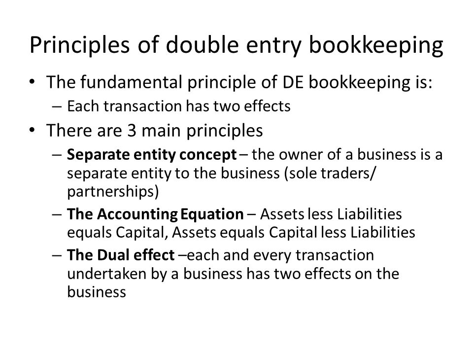 conclusion for double entry Double entry bookkeeping is where the value from every business transaction is entered twice into the system learn the principles behind this system and your confidence will grow in leaps and bounds whether keeping the books manually or using software.