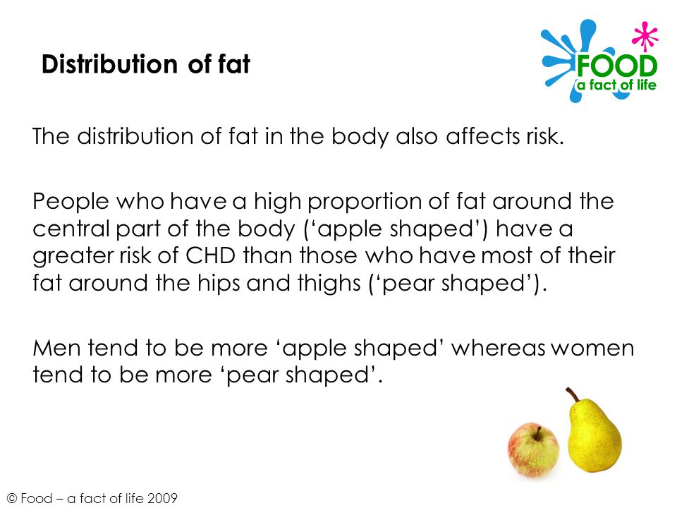 © Food – a fact of life 2009 Distribution of fat The distribution of fat in the body also affects risk.
