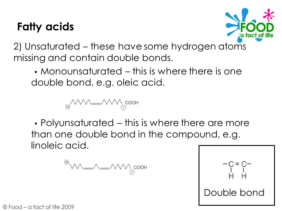 © Food – a fact of life 2009 Fatty acids 2) Unsaturated – these have some hydrogen atoms missing and contain double bonds.