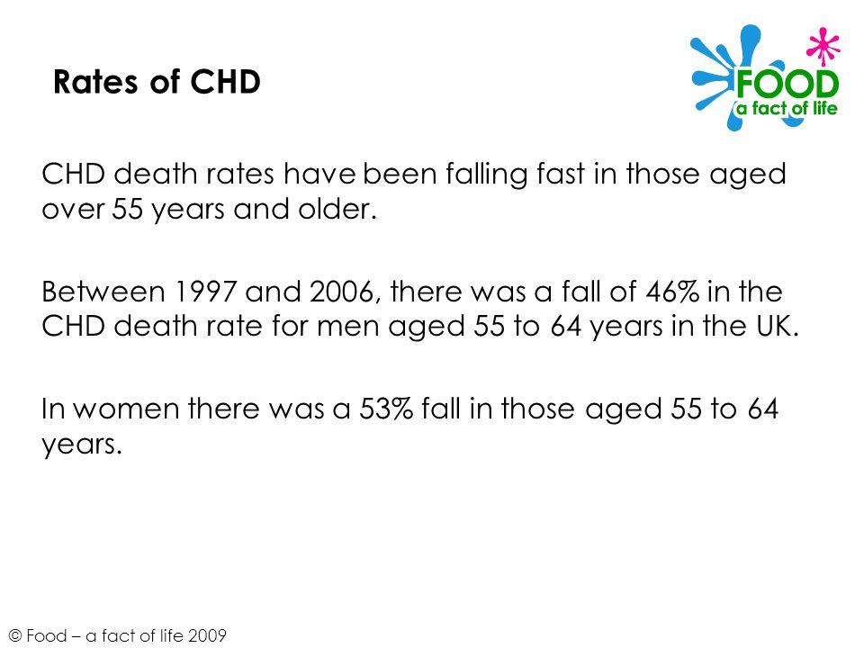 © Food – a fact of life 2009 Rates of CHD CHD death rates have been falling fast in those aged over 55 years and older.