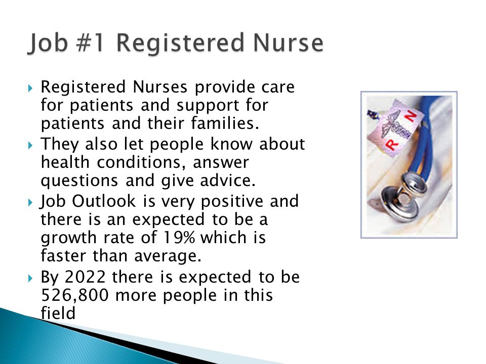  Registered Nurses provide care for patients and support for patients and their families.