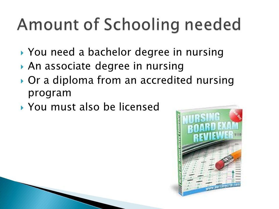  You need a bachelor degree in nursing  An associate degree in nursing  Or a diploma from an accredited nursing program  You must also be licensed