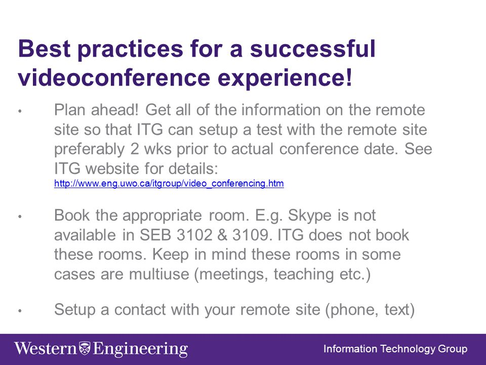 Best practices for a successful videoconference experience.