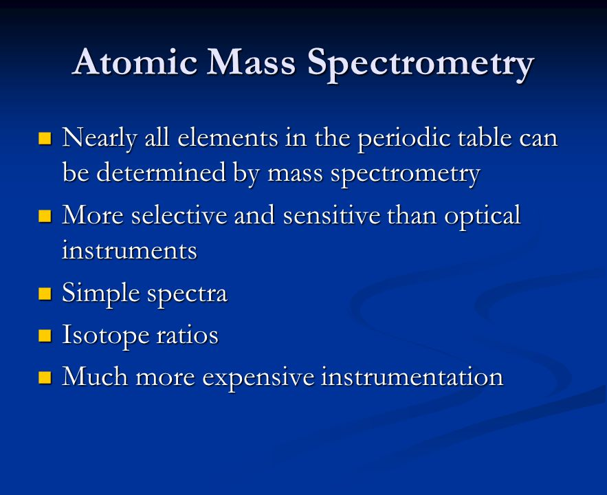 Atomic Mass Spectrometry Nearly All Elements In The Periodic Table