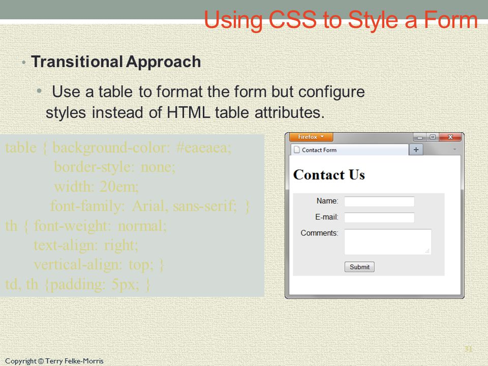 Copyright © Terry Felke-Morris Using CSS to Style a Form Transitional Approach Use a table to format the form but configure styles instead of HTML table attributes.