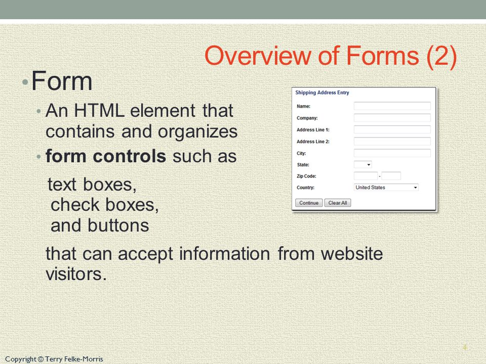 Copyright © Terry Felke-Morris Overview of Forms (2) Form An HTML element that contains and organizes form controls such as text boxes, check boxes, and buttons that can accept information from website visitors.