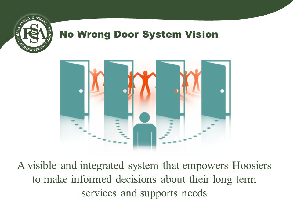No Wrong Door System Vision A visible and integrated system that empowers Hoosiers to make informed decisions about their long term services and supports needs