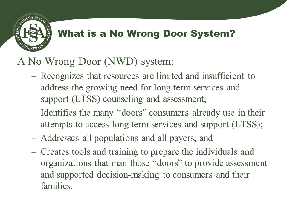 What is a No Wrong Door System.