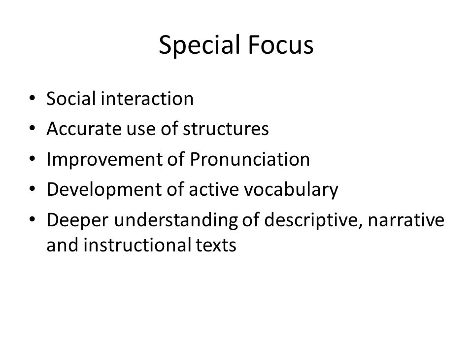 Special Focus Social interaction Accurate use of structures Improvement of Pronunciation Development of active vocabulary Deeper understanding of descriptive, narrative and instructional texts