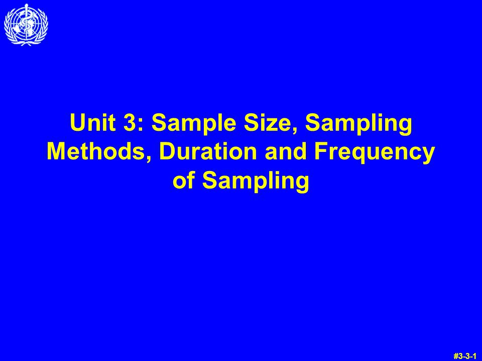 Unit 3: Sample Size, Sampling Methods, Duration and Frequency of Sampling #3-3-1